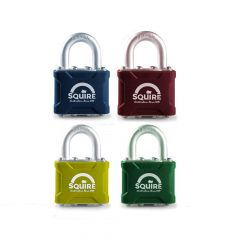 Squire 35CLRKA - Stronglock Pin Tumbler Laminated Double Locking Padlock - 7 Colours to Choose From - Open Shackle - Keyed Alike
