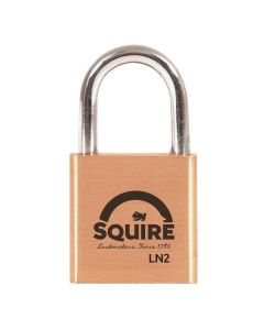 Squire LN2KA - Lion Range - 25mm  Premium Solid Brass Padlock - Open Shackle - Keyed Alike