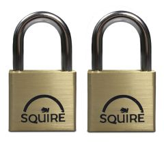 Squire LN4T - Lion Range - Twinpack 2 x LN4 40mm Premium Solid Brass - Open Shackle - Keyed Alike