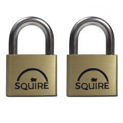Squire LN5T - Lion Range - Twinpack 2 x LN5 50mm Premium Solid Brass - Open Shackle - Keyed Alike