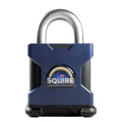 Squire SS65S/F/Shackle Restricted Profile - Stronghold 65mm Hardened Steel Padlock - Open Removal Shackle
