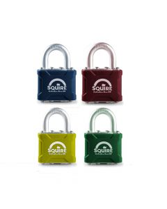 Squire 35CLRMK - Stronglock Pin Tumbler Laminated Double Locking Padlock - 7 Colours to Choose From - Open Shackle - Master Keyed